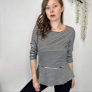 ANN TAYLOR peplum top black & white striped 1076